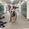 Record-Eagle/Jan-Michael Stump<br /> Raven Joseph stands in a hallway at Traverse City West High School while preparing for Saturday's 6th Annual Trashion Fashion Show, which featured student-designed and modeled fashion made from recycled and reused materials. Proceeds go to Pete's Place youth shelter.