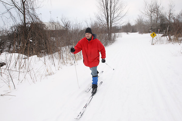 Record-Eagle/Keith King<br /> Rich LaTulip, of Kingsley, cross-country skis on the Leelanau Trail portion of the TART Trails system Monday, February 25, 2013 through the DeYoung Natural Area in Elmwood Township.