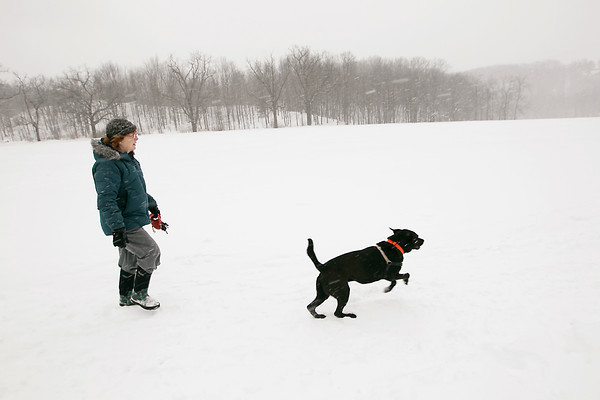 "Record-Eagle/Keith King<br /> Jeri Rouleau, of Elmwood Township, walks with her dog, Theo, a rescue dog, Friday, February 22, 2013 in the snow at Hickory Meadows in Traverse City. ""You get out of your every day world and get out into beautiful nature,"" Rouleau said about walking outdoors every week."