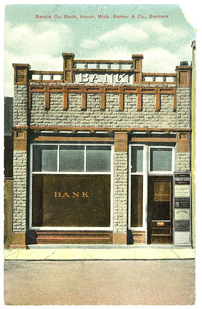 A postcard of the original Honor State Bank on Main Street in Honor, Michigan. Honor Bank is celebrating 100 years of business this year.