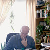 Record-Eagle/Jan-Michael Stump<br /> NMC student John Reed does homework for his college algebra class at home. The former Tower Automotive employee is going back to school to study renewable energy.