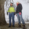 Record-Eagle/Garret Leiva<br /> Tim Hughes, of Garfield Township and Traverse City Recreational Authority, left, and Julie Clark, TART Trails executive director, stand where the proposed 2.7 mile Buffalo Ridge Trail would run on the South Campus entrance to the Grand Traverse Commons.
