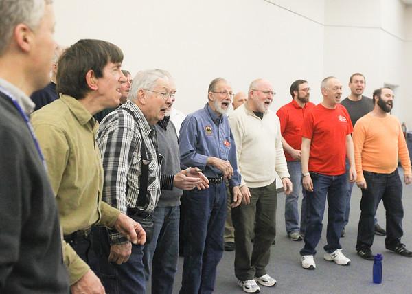 Record-Eagle/Keith King<br /> Members of the Cherry Capital Men's Chorus rehearse Tuesday at Presbyterian Church of Traverse City.