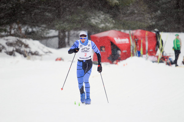 Record-Eagle/Keith King<br /> Copper Country Ski Tigers' David Jaszczak nears the finish line in the boys 1K classic sprint finals during the Michigan High School Nordic Ski State Championship at the Vasa Pathway in Acme Township.