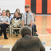 Record-Eagle/Keith King<br /> Michael Kaven, Grand Traverse Academy student, spells a word Thursday during the 2014 Grand Traverse County Spelling Bee at Kingsley Middle School.