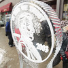 Record-Eagle/Keith King<br /> An ice sculpture is displayed along Front Street during the Traverse City Winter Comedy Arts Festival.