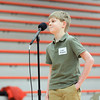 Record-Eagle/Keith King<br /> Luke Krcmarik, Grand Traverse Area Catholic Schools student, smiles to an applause Thursday after winning the 2014 Grand Traverse County Spelling Bee at Kingsley Middle School.