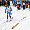 Record-Eagle photos/ Dennis Chase<br /> Top, Copper Country's Isaac Stone comes across the finish line ahead of teammate David Jaszczak in the boys pursuit. Above, Petoskey's Sarah Goble starts her classic race in the girls pursuit at the Vasa Pathway. Goble won by 8 seconds.