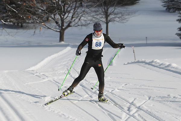 Record-Eagle/Keith King<br /> Alex Vanias, of Leroy, finishes first at Shanty Creek Resorts Saturday, February 2, 2013 in the men's White Pine Stampede 40K.