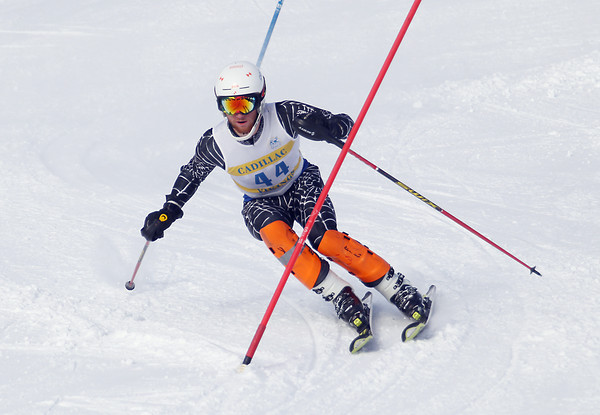 Record-Eagle/Keith King<br /> Cadillac's Keenan Cooper (44) competes in the slalom Wednesday, February 6, 2013 during a Big North Conference meet at Crystal Mountain in Thompsonville.