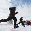 Record-Eagle/Keith King<br /> Altimore Harrison, foreground, competes in the 50-meter snowshoe finals Friday, February 8, 2013 at Grand Traverse Resort and Spa in Acme during the Special Olympics Michigan Winter Games.