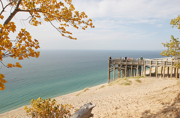 Record-Eagle/Keith King<br /> <br /> Visitors gather Thursday, October 4, 2012 at the Lake Michigan Overlook on Pierce Stocking Scenic Drive at the Sleeping Bear Dunes National Lakeshore