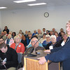 Record-Eagle/Glenn Puit<br /> Thelma Rider Novak speaks during a public meeting on the proposal to merge the nursing care facility and the hospital. She supported exploring the option.
