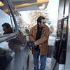 Record-Eagle/Jan-Michael Stump<br /> Mark Perry of Suttons Bay fills his gas tank at the Mutual Service Station on East Front Street in Traverse City on Monday afternoon.