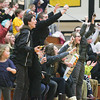 Record-Eagle/Keith King<br /> Traverse City Central Senior High School fans cheer as the varsity girls basketball team takes the lead against Traverse City West in the fourth quarter Friday at Traverse City Central High School.