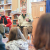 "Record-Eagle/Keith King<br /> Activists Judy and Stan VerHeul , as well as others, talk to Greenspire School students Friday during a symposium as part of the ""PeaceJam"" curriculum."
