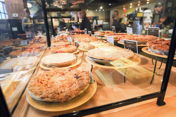 Record-Eagle/Keith King<br /> A variety of pies and baked goods are displayed for sale at Grand Traverse Pie Company near the intersection of Front Street and Park Street in downtown Traverse City.