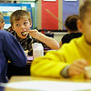 Record-Eagle/Jan-Michael Stump<br /> Hunter Springberg eats his cereal in Erika Olvey's second grade class at Blair Elementary School, where breakfast is available for all students every morning.