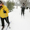 Record-Eagle/Keith King<br /> Roberta Wandel, of Interlochen, and her husband Carl Wandel, begin to cross-country ski Tuesday, January 11, 2011 at the Vasa Pathway in Acme Township.