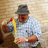 Record-Eagle/Jan-Michael Stump<br /> Jim Abfalter sells pasta products at his farmer's market stand at the Village at Grand Traverse Commons on Saturday morning.