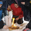 "Record-Eagle/Garret Leiva<br /> Troop 105 Boy Scouts Cody Reightley, left, and Jacob Glazier try to build a fire in a snow storm Saturday at the seventh annual first-aid Klondike Derby on the campus of the Interlochen Center for the Arts. The derby, attended by 150 Boy Scouts, tested first-aid skills in mock-emergency situations. Teams had ten minutes at each station to evaluate and treat ""victims"" while being judged by emergency medical technicians, nurses or physicians. Scouts carried first aid supplies on sleds they pulled to each station."