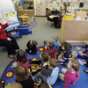"Record-Eagle/Keith King<br /> Volunteer June Neal, of Traverse City, reads Dr. Seuss' ""The Sneetches"" to Kelly Adams' preschool class at Westwoods Elementary School. The Traverse City community is exploring ways to commemorate civil-rights leader Martin Luther King Jr. in the school system."