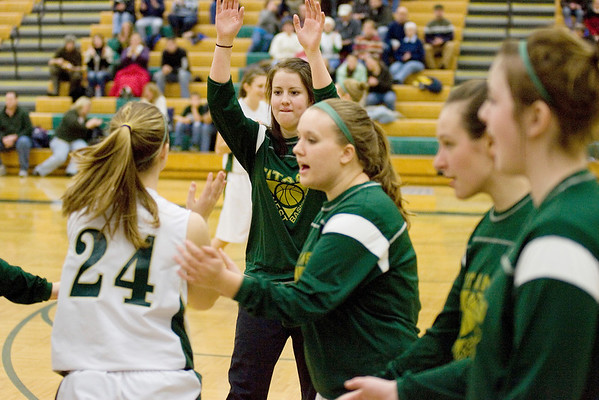 Record-Eagle file photo/Keith King<br /> Traverse City West's Emily Ellison stands as the starting lineups are announced prior to a game against Petoskey.