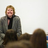 "Record-Eagle/Jan-Michael Stump<br /> Author Rhoda Janzen spoke to students in the library at Traverse City Central about writing, her life and her memoir, ""Mennonite in a Little Black Dress."" Janzen was in Traverse City for the Traverse City National Writers Series."
