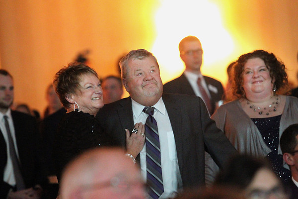 Record-Eagle/Jan-Michael Stump<br /> Great Lakes Stainless, Inc President Terry Berden (cq) was honored with this year's Distinguished Service Award during Friday's Traverse City Area Chamber of Commerce Annual Celebration at the Grand Traverse Resort and Spa in Acme. Berden's wife Rayman Berden (cq), left, and daughter Melanie Berden (cq), right, stand with Berden as his honor is announced.