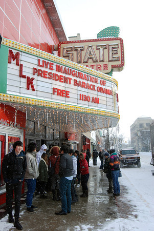 Record-Eagle/Kate Milewski<br /> Crowds gather shortly before the free screening of the inauguration at the State Theatre on Monday, January 21, 2013.