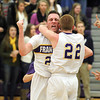 Record-Eagle/Jan-Michael Stump<br /> Frankfort's Owen Stratton (23) and Brandon Schaub (22) celebrate their 42-41 win over Glen Lake.