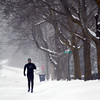 "Record-Eagle/Jan-Michael Stump<br /> ""I love the cold,"" said John Hall during a run down Jefferson Street in Traverse City on a Monday afternoon that saw temperatures in the single digits. Hall said he was running after a foot injury forced a break. ""I'm just glad to be out here,"" he said. Tuesday's forecast calls for highs in the single digits and more snow."