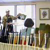 Record-Eagle/Jan-Michael Stump<br /> Brushes sit ready for use as Traverse City artist Charles Murphy teaches his weekly watercolor class Wednesday at the Traverse City Senior Center.
