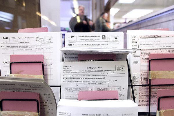 Record-Eagle/Keith King<br /> Tax forms are displayed at the U.S. Post Office on Union Street in Traverse City.