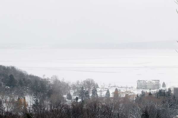 Record-Eagle/Keith King<br /> Ice is visible on West Grand Traverse Bay in Traverse City.