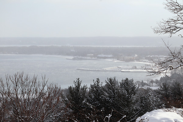 Record-Eagle/Jan-Michael Stump<br /> West Grand Traverse Bay, seen here facing east from Wayne Hill, remains largely ice-free on Thursday, January 24, 2013.
