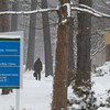 Record-Eagle/Keith King<br /> Leland Nelson, a student and employee at Northwestern Michigan College, walks Friday, January 25, 2013 through snowy weather on the college's main campus.