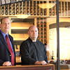 Record-Eagle/Jan-Michael Stump<br /> Copper Falls Steakhouse general manager Jeremy Martinchek, left, and executive chef Josh Benedict stand near the new restaurant's wine cellar.