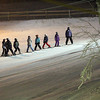 Record-Eagle/Jan-Michael Stump<br /> Kiwanis Ski School students line up on MT. Holiday's Snow Shoot run Wednesday night.