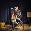 "Record-Eagle/Jan-Michael Stump<br /> Gage VanderMeer, left, and Andrew Martin rehearse a scene from the Old Town Playhouse production of ""Almost, Maine."""