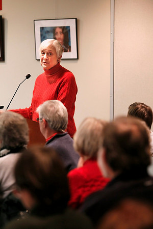 Record-Eagle/Jan-Michael Stump<br /> Shirley Murray speaks in support of library director Metta Lansdale during Thursday's special meeting of The Traverse Area District Library board.