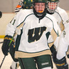 Record-Eagle/James Cook<br /> Traverse City West's Trevor Franklin skates back to the bench after picking up an assist on Dan Henderson's goal that made it 5-2 in the Titans' win over Alpena.