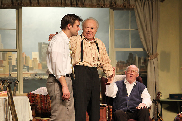 """Record-Eagle/Jan-Michael Stump<br /> From left, Michael Kania (Nick), Mike Nunn (Nunzio) and Larry Hains (Frank) rehearse for """"Over the River and Through the Woods,"""" at the Old Town Playhouse."""