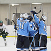 Record-Eagle/Jan-Michael Stump<br /> Livonia Stevenson players celebrate a first period goal by Dominic Lutz during Friday's game at Traverse City West.
