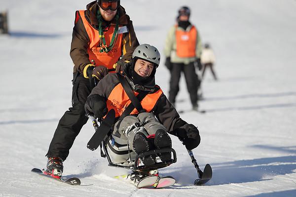 Record-Eagle/Keith King<br /> Samir Moularak, front, and Aaron McMaster, both of Traverse City, ski at Crystal Mountain.