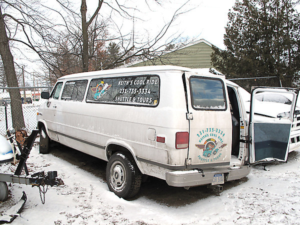 Record-Eagle/Art Bukowski<br /> Jeremy Schwierking crashed this van, shown at a local towing company yard.