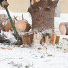 Record-Eagle/Keith King<br /> A pickaxe is used, by a City of Traverse City Parks and Recreation Department employee, on shims as the Downtown Tree, a blue spruce, is removed at the intersection of Front Street and Cass Street in downtown Traverse City.