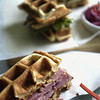 Record-Eagle/Nathan Payne<br /> Right Brain Brewery's first foray into offering a sandwich menu took an unusual turn when owner Russell Springsteen asked Chef Mike Meador to creat a line of Belgian waffle sandwiches.