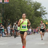 Record-Eagle/Keith King<br /> Danielle Tauro finishes first in the women's 5K during the National Cherry Festival Festival of Races.