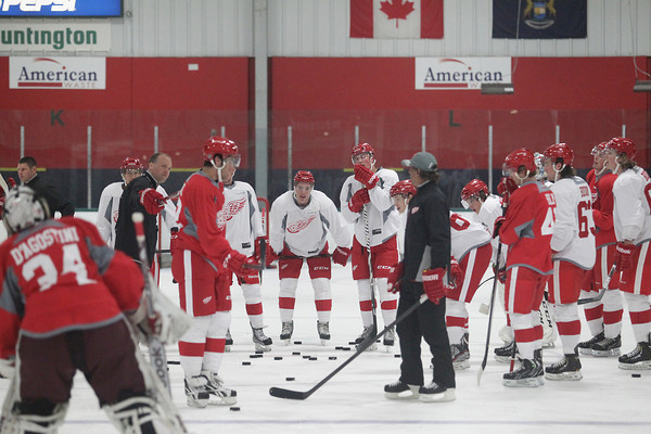 Record-Eagle/Keith King<br /> The Detroit Red Wings skill development camp takes place Wednesday, July 10, 2013 at Centre ICE in Traverse City.